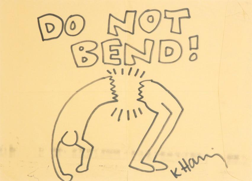 Keith HARING (1958-1990) Untitled (Do not Bend !), 1989 Feutre sur enveloppe kraft…