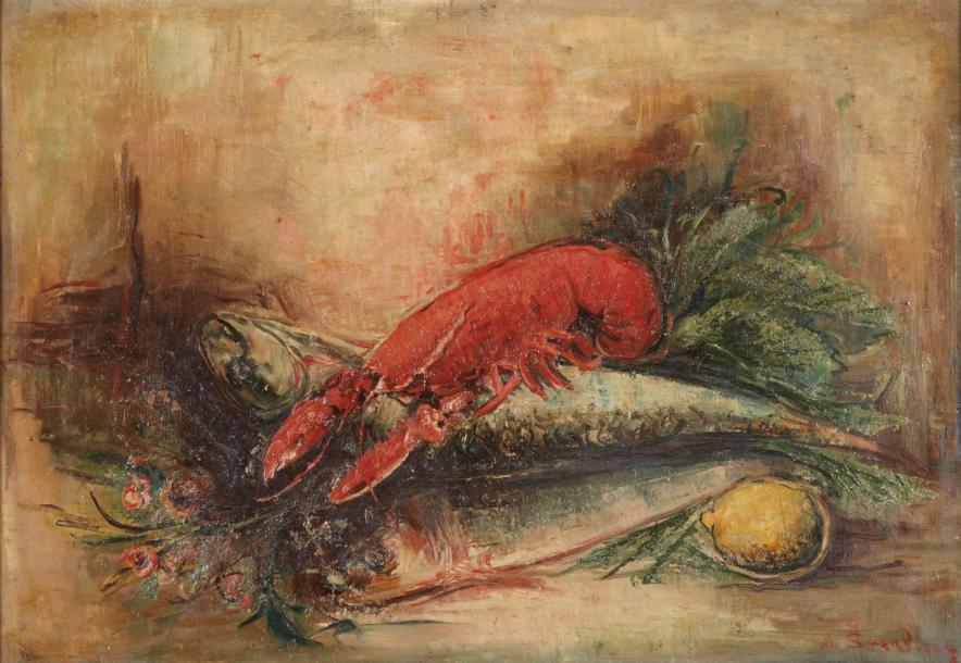 Marc STERLING (Prilouki 1895 - Paris 1976) Composition au homard, circa 1930 Huile…