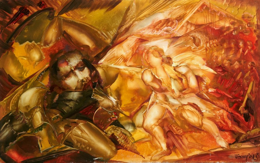 Vladimir BOUGRINE (Leningrad 1938 - Saint Petersbourg 2001) David et Goliath Huile…