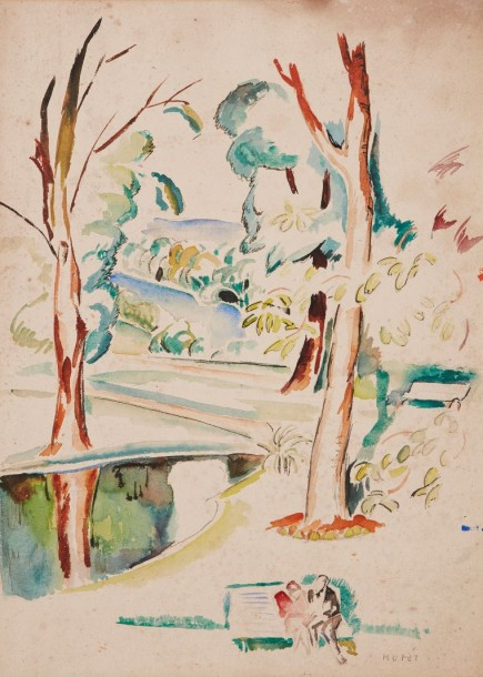 Mela MUTER (Varsovie 1876 - Paris 1967) Couple sur un banc dans un parc  Aquarelle…