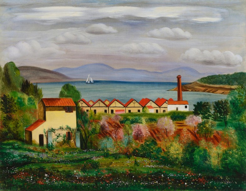* Moise KISLING (Cracovie 1891- Sanary sur mer 1953) L'usine entre le Brusc et Sanary…