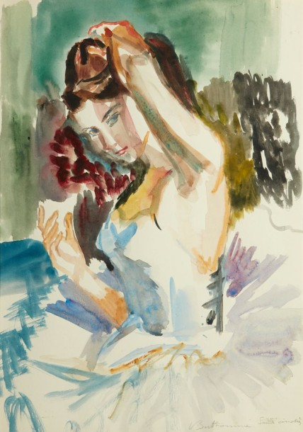 Louis BERTHOMME SAINT ANDRE (Barbery 1905-Paris 1977) Danseuse se coiffant Aquarelle…