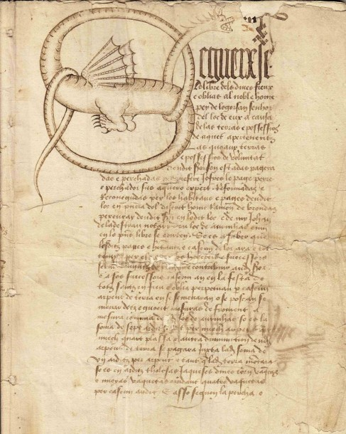 (1494. LE DRAGON DU MOYEN AGE) - Manuscrit de 36 pages sur papier (28 x 21) de 1494,…