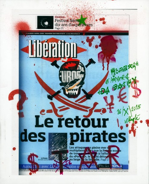 Jacques VILLEGLE, 1926 (France)  Le retour des pirates  2015  Pochoir et spray, aquarelle,…