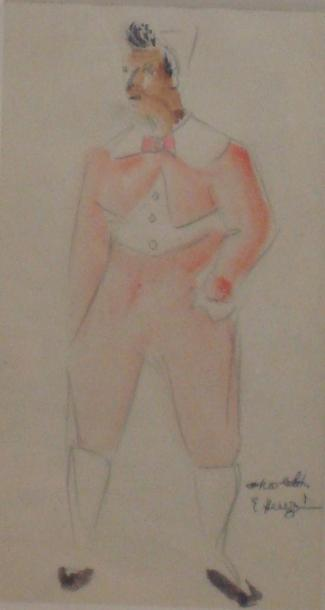 Edmond HEUZE (1883 - 1967) Apolo, Médrano Aquarelle sur traits de crayon 19 x 11…