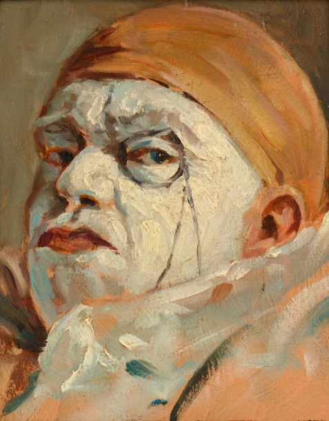 Armand HENRION (Liège 1875 - 1958)  Clown au bonnet orange et au monocle  Huile…