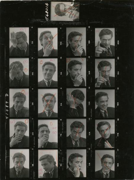Sam SHAW (1911-1999)  John Cassavetes, c. 1965  Planche contact agrandie, annotations…