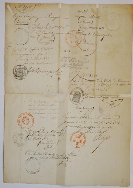 "LONDONDERRY (Stewart Robert, 2e Marquis de). Document signé ""Londonderry"", 2 pp.…"