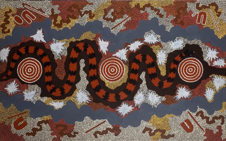 Clifford Possum Tjapaltjarri (1932 - 2002) Bush Fire Dreaming, 1989 Acrylique sur…