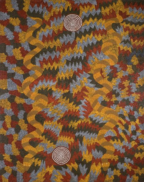 Riley Major Tjangala (c. 1940 - ) Muruntji, 1989 Acrylique sur toile - 183 x 152,5…