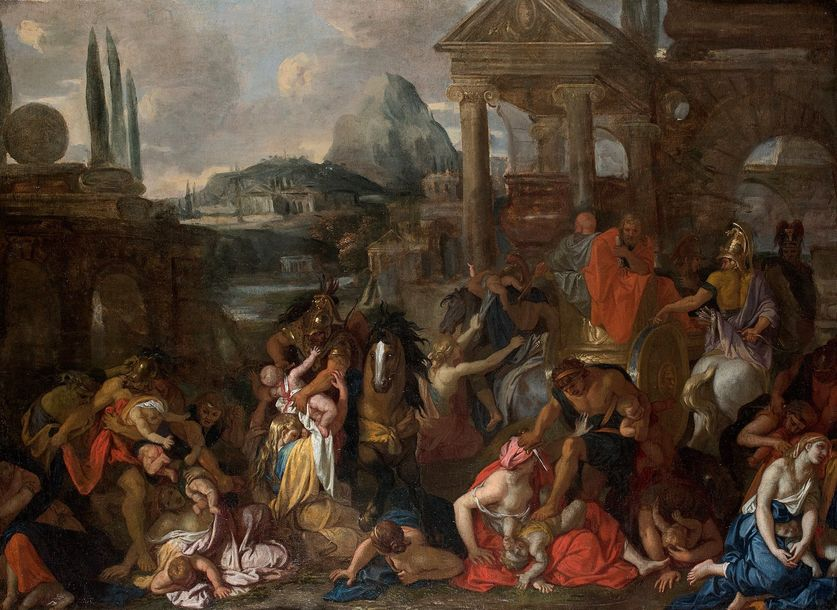 Attribué à Jacques Antoine FRIQUET de VAUROZE  (1638 – 1716)  Le massacre des innocents…