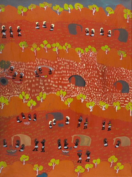 Lucky Morton Kngwarreye (c. 1950 - ) Andaringya Bush Camp, 1998 Acrylique sur toile…