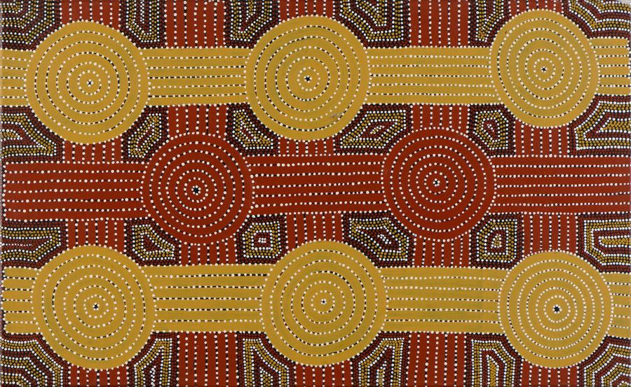 Tommy Jones Kngwarreye Wallaby Dreaming Acrylique sur toile - 90 x 55 cm Groupe…