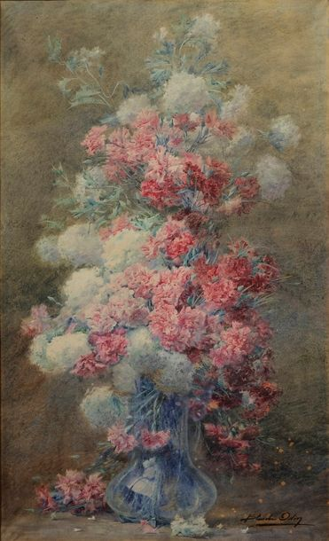 ODIN Blanche ODIN Blanche, 1865-1957  Grand bouquet d'oeillets  aquarelle (insolation…