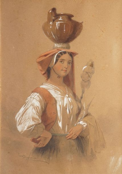 DEVERIA Eugène DEVERIA Eugène, 1808-1865  Paysanne italienne  mine de plomb, aquarelle…