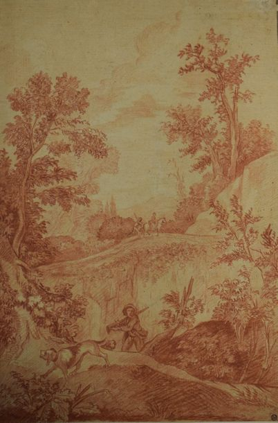COUTURIER Charles     Plailly 1768- Châtenay 1852    Paysage au chasseur    Sanguine.…