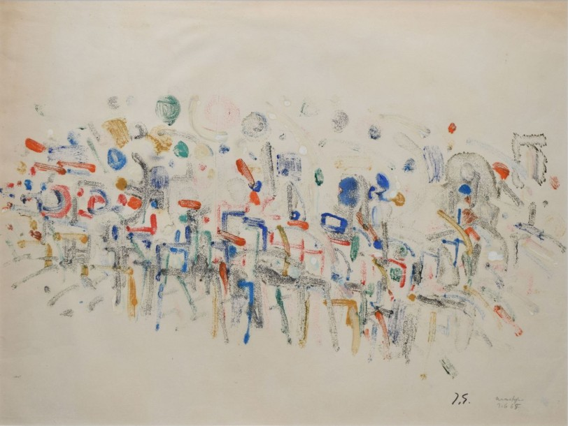 GERMAIN Jacques (1915-2001) Sans titre, 7.6.65 Monotype en couleurs (traces d'insolation),…