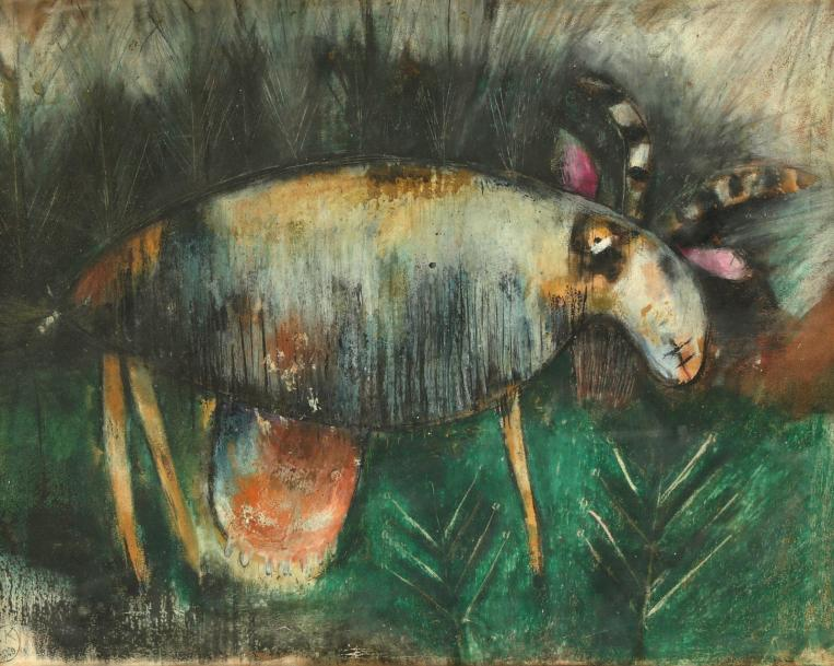 KOPAC Slavko, 1913-1995 Animal fantastique, 1949 Technique mixte sur papier; monogramme…