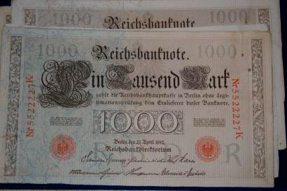 [Billet de banque] [Allemagne]    Reichsbanknote Tausend Mark 1910  Lot de 36 billets.…