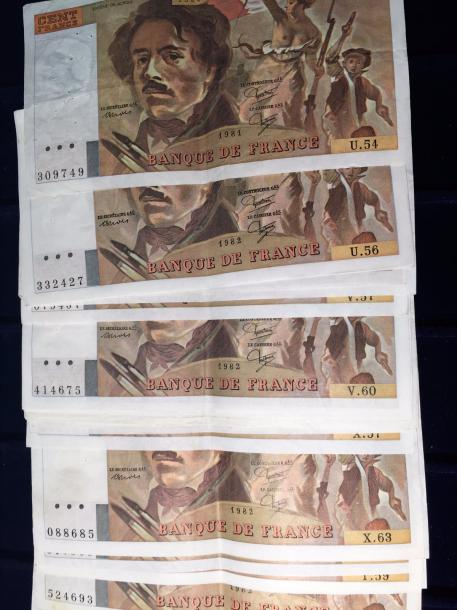 [ Billet de banque ] [ France ]  Lot de 20 billets de cent Francs DELACROIX  (U…