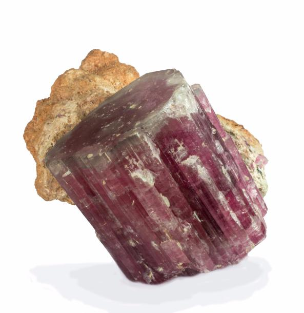 Rare ELBAITE, var. RUBELLITE de la King Mine, Queen Mts., Pala, Californie, USA…