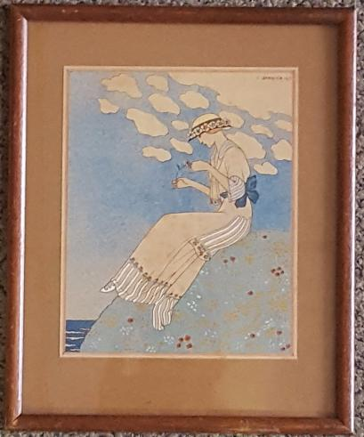 BARBIER Georges (1882-1932)  La marguerite  Pochoir  17 x 14 cm.