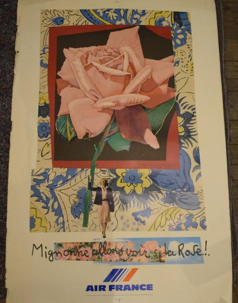 BEZOMBES Roger, 1913-1994 Lot de 3 affiches (déchirures et accidents) pour Air France,…