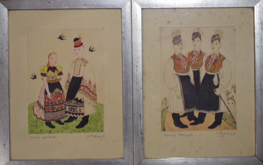 PEKARY Istvan (1905-1981)  Suite de sept lithographies de personnages en costumes…