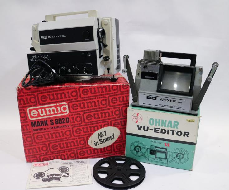 Lot cinéma : Projecteur Eumig Mark S 802D Super 8 - Standard 8, N°1 in Sound, avec…