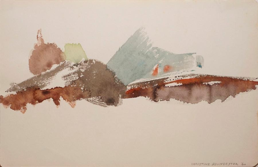 BOUMEESTER Christine, 1904-1971,  Composition brune, 1960,  aquarelle, signée et…