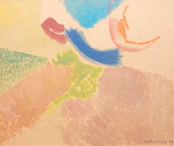 BOUMEESTER Christine, 1904-1971,  Composition rose et verte, 1959,  aquarelle, signée…