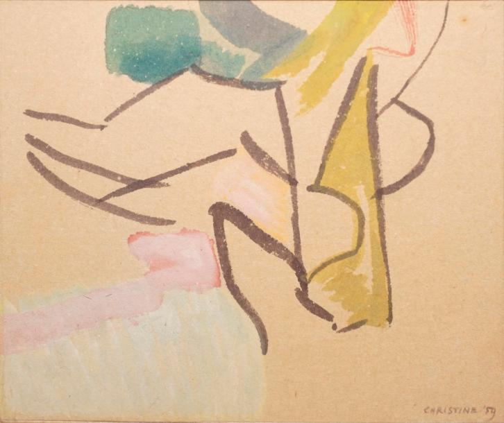 BOUMEESTER Christine, 1904-1971,  Composition aux traits noirs, 1959,  aquarelle,…
