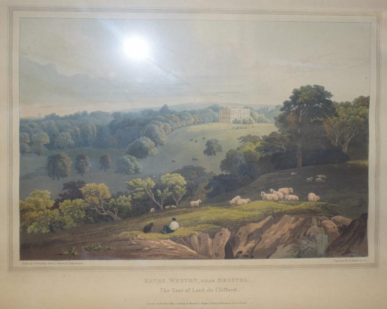 Robert HAVELL (1793 - 1878)  Kings Weston near Bristol  D'après Fielding. Aquatinte…
