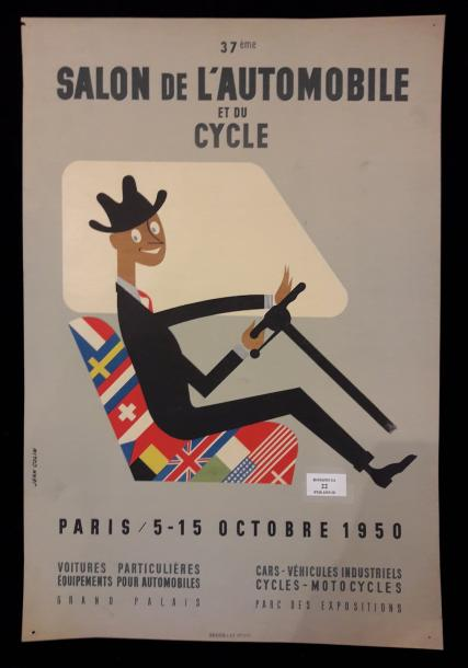 37ème Salon de l'automobile et du cycle d'après Jean Colin ( 1912-1982 ). Paris…
