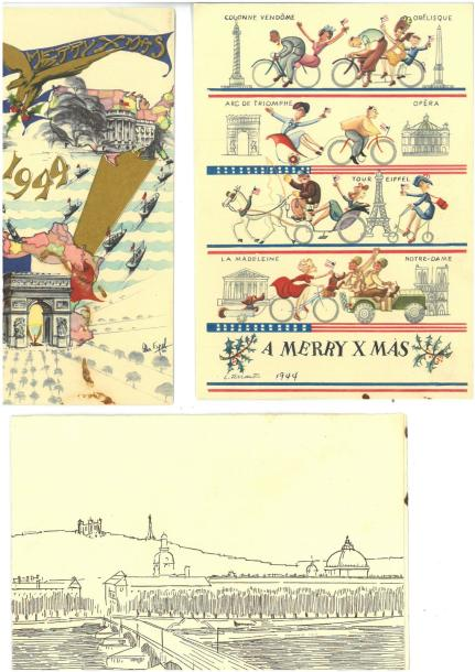 [ WW2 ] [ U.S. ] Ensemble de trois documents : deux cartes postales A MERRY X MAS…