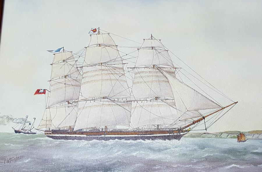 "LETOUCHE Louis (1924-2015)  ""Anglesey, clipper anglais des années 1848-1860""  Huile…"