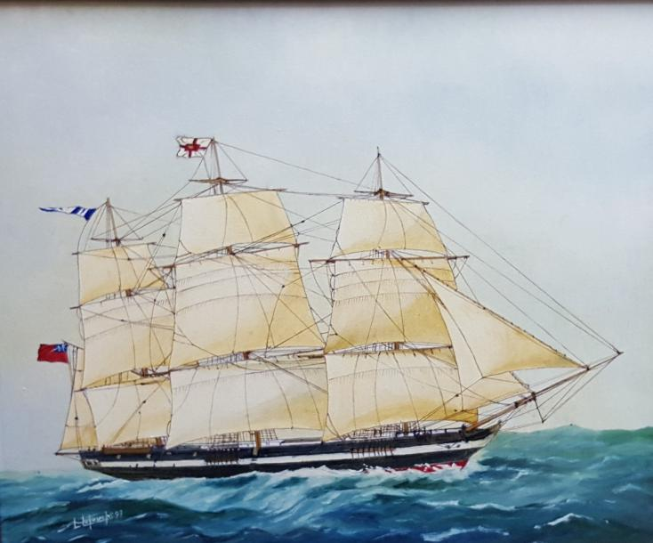 "LETOUCHE Louis (1924-2015)  ""Anglesey, clipper anglais""  Huile sur toile marouflée…"