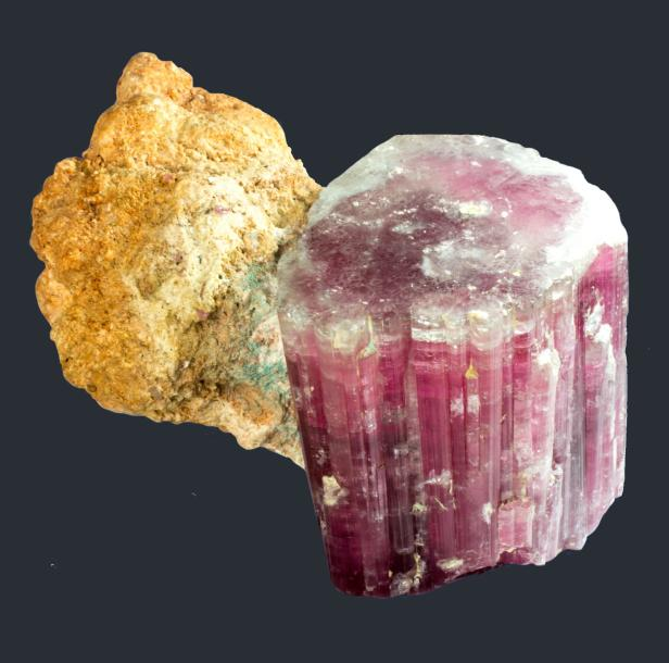 Jolie ELBAITE, var. RUBELLITE de la King Mine, Queen Mts., Pala, Californie, USA…