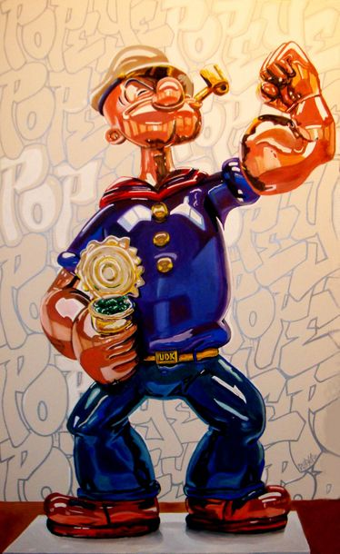 BILLY GEE BILLY GEE, né en 1978.  Popeye balloon,  Acrylique et huile sur toile.…