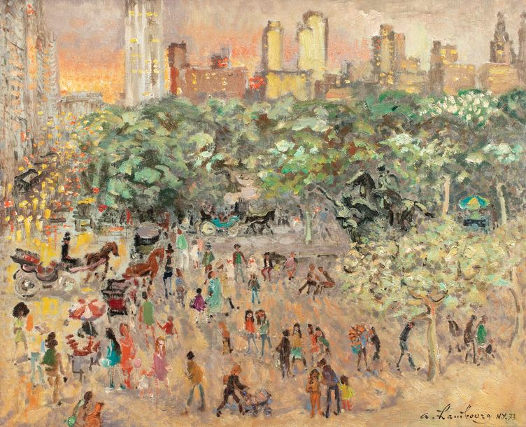 HAMBOURG André, 1909-1999  Grand Army Plazza, New-York, 1973  huile sur toile  signée,…