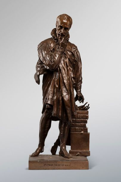 DAVID Pierre Jean, 1788-1856  Ambroise Paré  bronze à patine médaille, F. BARBEDIENNE…