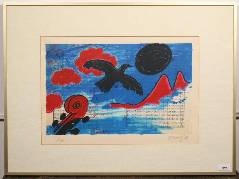 Corneille (1922 2010), 'Hommage a Satie' / 'Hommage a Beethoven', litho, gesign.…