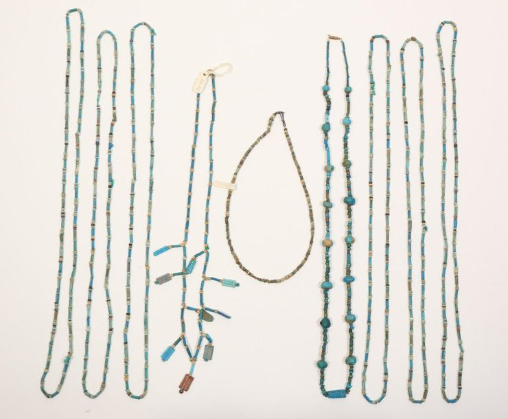 Egypt, several faience beaded necklaces, Late Period., [zkj]