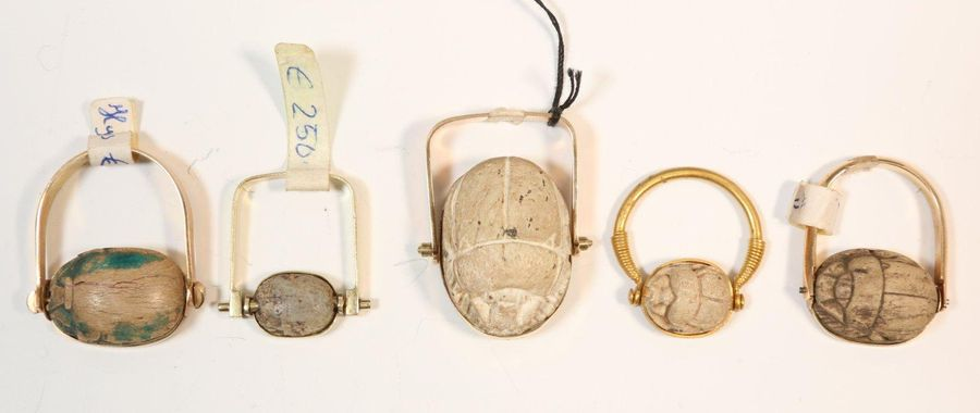 Egypt, three scarab rings, with scarabs, unmarked 14K gold ,