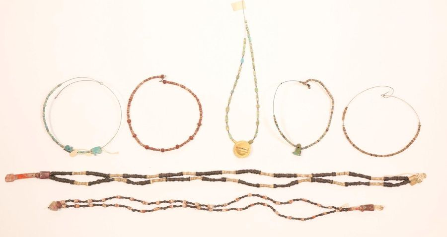 Egypt, collection of faience beads and necklaces, Late Period., [ds]