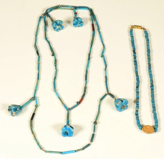 Egypte, two faience necklaces, Late Period, one with flower beads, the other wit…