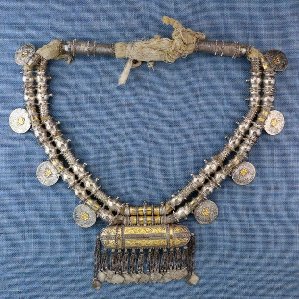 Oman, Shargiya region, silver amulet necklace, 'Hirz';, with pointed beads, eigh…