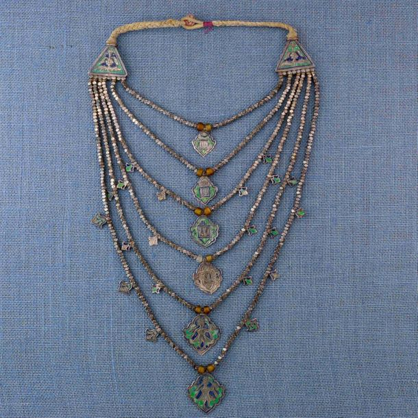 India, Himachal Pradesh, Kangra District, necklace, with blue and green enamel. …
