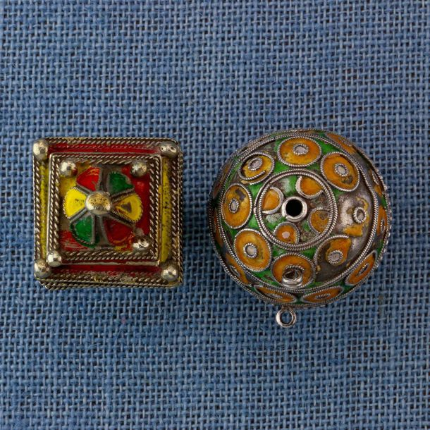 "Morocco, silver hair ornament and ""Tagmout"" bead, the enameled hair ornament is …"