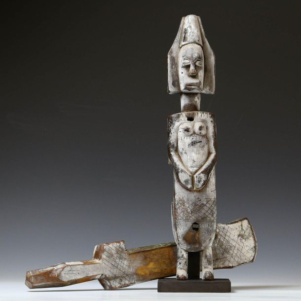 Bamana, two wooden locks, in the form of standing anthropomorphic figures. With …